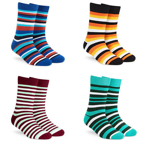 Dynamocks Socks Savvy | India | Pack of 4 Pairs | Unisex Crew Length Socks | Pack of 4 Pairs | Stripes 1.0 + 2.0 + 3.0 + 4.0