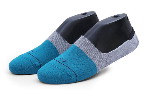 Dynamocks Invisibles Socks | India | Teal Blue & Grey Dual Solid