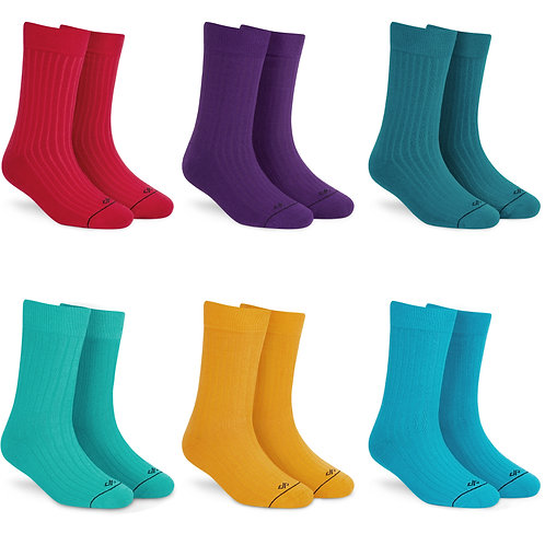 Dynamocks Solid colours crew length pack of 6 pairs for men and women