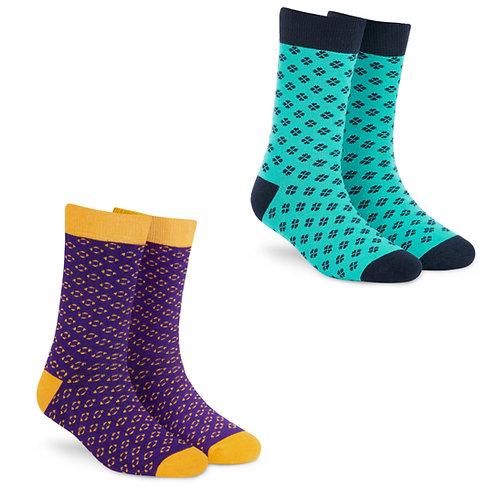 Dynamocks Socks Savvy | India | Pack of 2 Pairs | Unisex Crew Length Socks | Pack of 2 Pairs | Classic + Plush