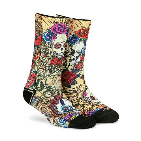Dynamocks Artistic Socks | India | Skulls & Roses Crew Length Socks R