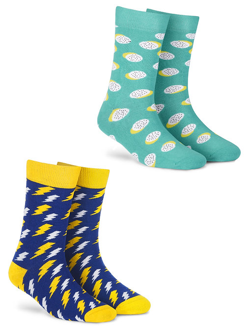 Dynamocks Bolt + Polka men and women crew length socks