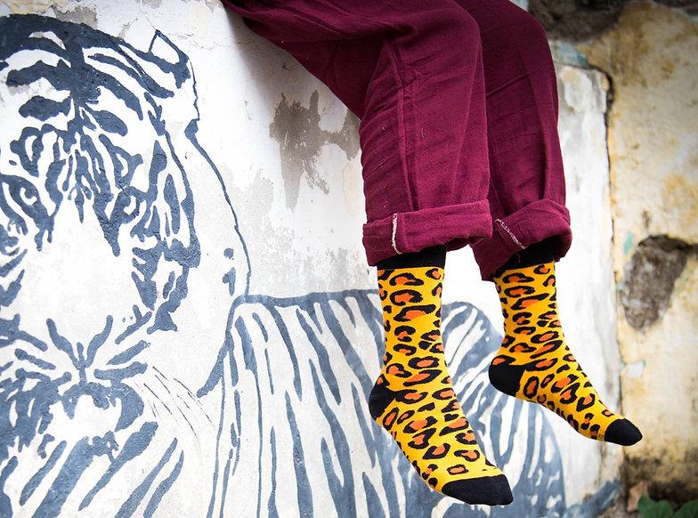Dynamocks Leopard Crew Length Socks for Men & Women