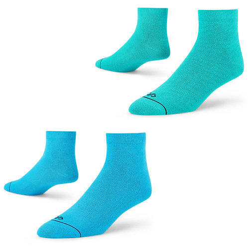 Dynamocks Ankle length socks for men and women - Aqua + Turquoise