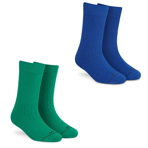 Super Saver Pack of 2 Pairs: Crew Length Socks (Green + Royal Blue)