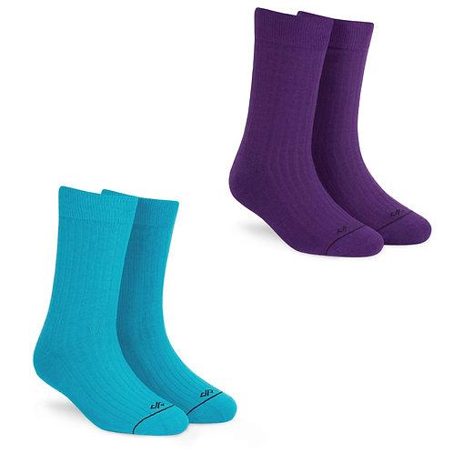 Dynamocks Socks Savvy | India | Pack of 2 Pairs | Unisex Crew Length Socks | Pack of 2 Pairs | Aqua + Purple