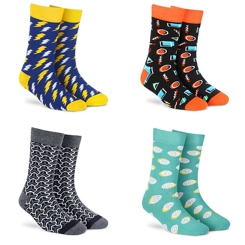 Dynamocks Cotton Excellence Socks | India | #4 Super Saver Pack | Unisex Crew Length Socks | Pack of 4 Pairs
