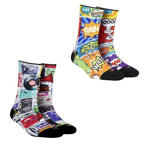 Dynamocks Artistic Socks | India | #4 Super Saver Pack | Unisex Crew Length Socks | Pack of 2 Pairs