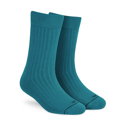 Dynamocks Savvy Excellence Socks | India | Solid Teal Green Crew Length Socks R