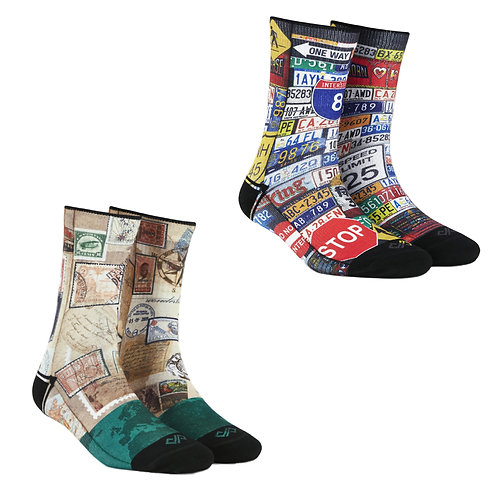 Dynamocks Artistic Socks | India | #5 Super Saver Pack | Unisex Crew Length Socks | Pack of 2 Pairs