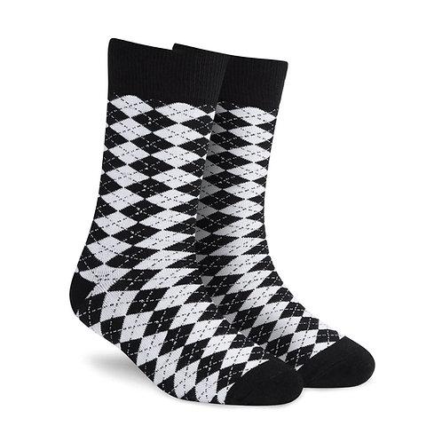 Dynamocks Dandy Black & White Crew Length socks for men and women India