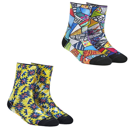 Dynamocks Artistic Socks | India | #9 Super Saver Pack | Unisex Quarter Ankle Length Socks | Pack of 2 Pairs