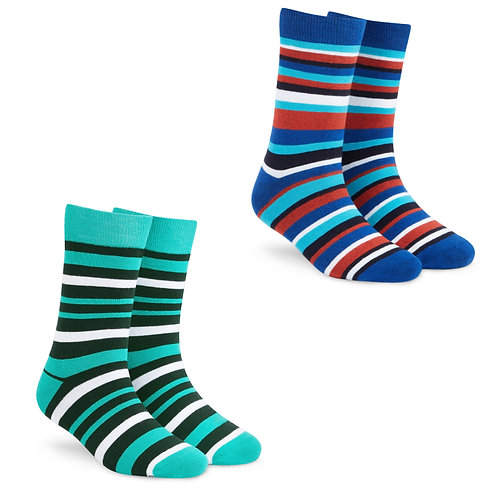 Dynamocks Socks Savvy | India | Pack of 2 Pairs | Unisex Crew Length Socks | Pack of 2 Pairs | Stripes 1.0 + Stripes 2.0