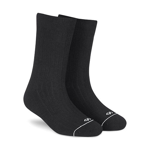 Dynamocks Savvy Excellence Socks | India | Solid Black Melange Crew Length Socks R