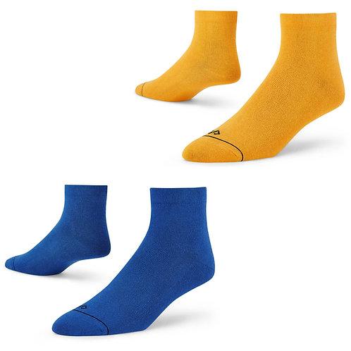 Dynamocks men and women ankle length socks - mango + blue