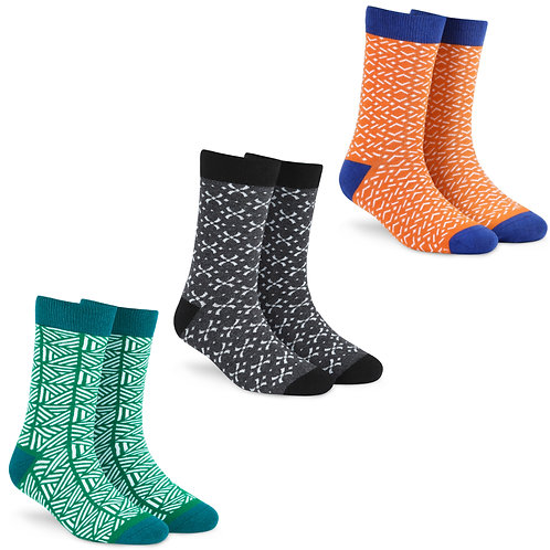 Dynamocks Socks Savvy | India | Pack of 3 Pairs | Unisex Crew Length Socks | Pack of 3 Pairs | Grill + Criss Cross + Tangy