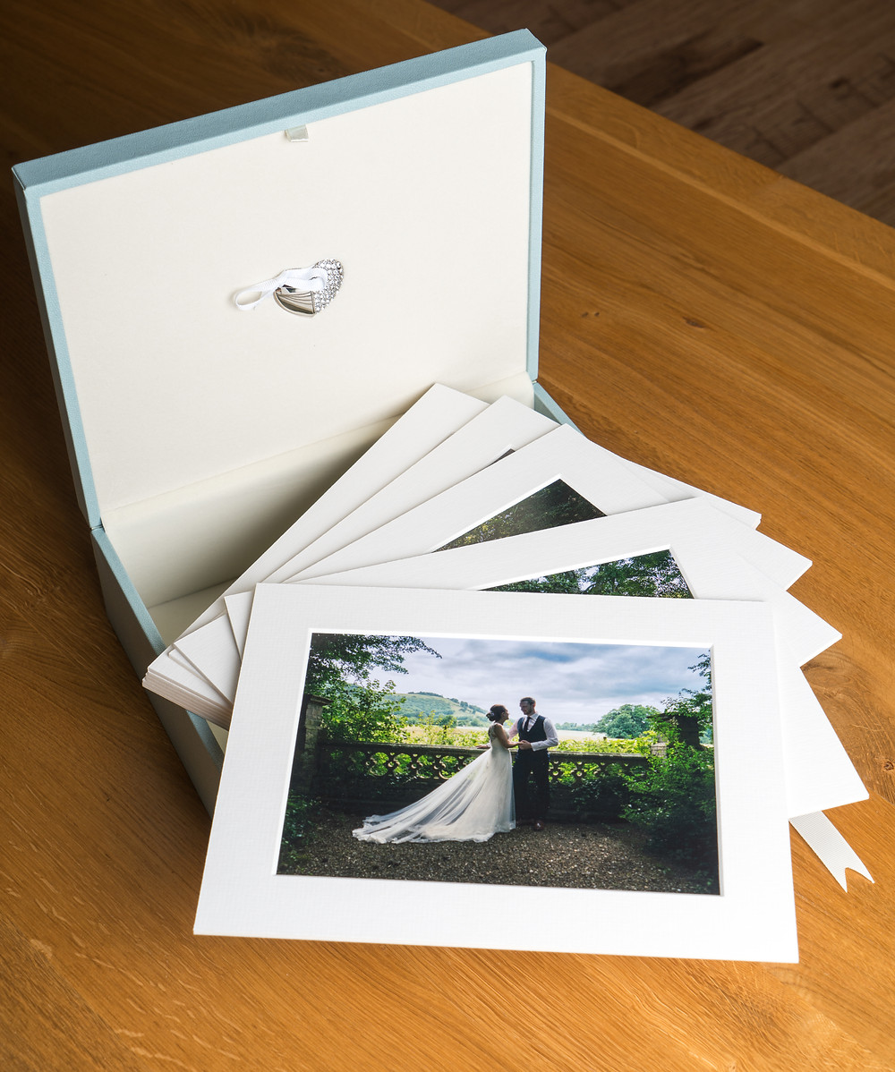 Box of prints for wedding clients