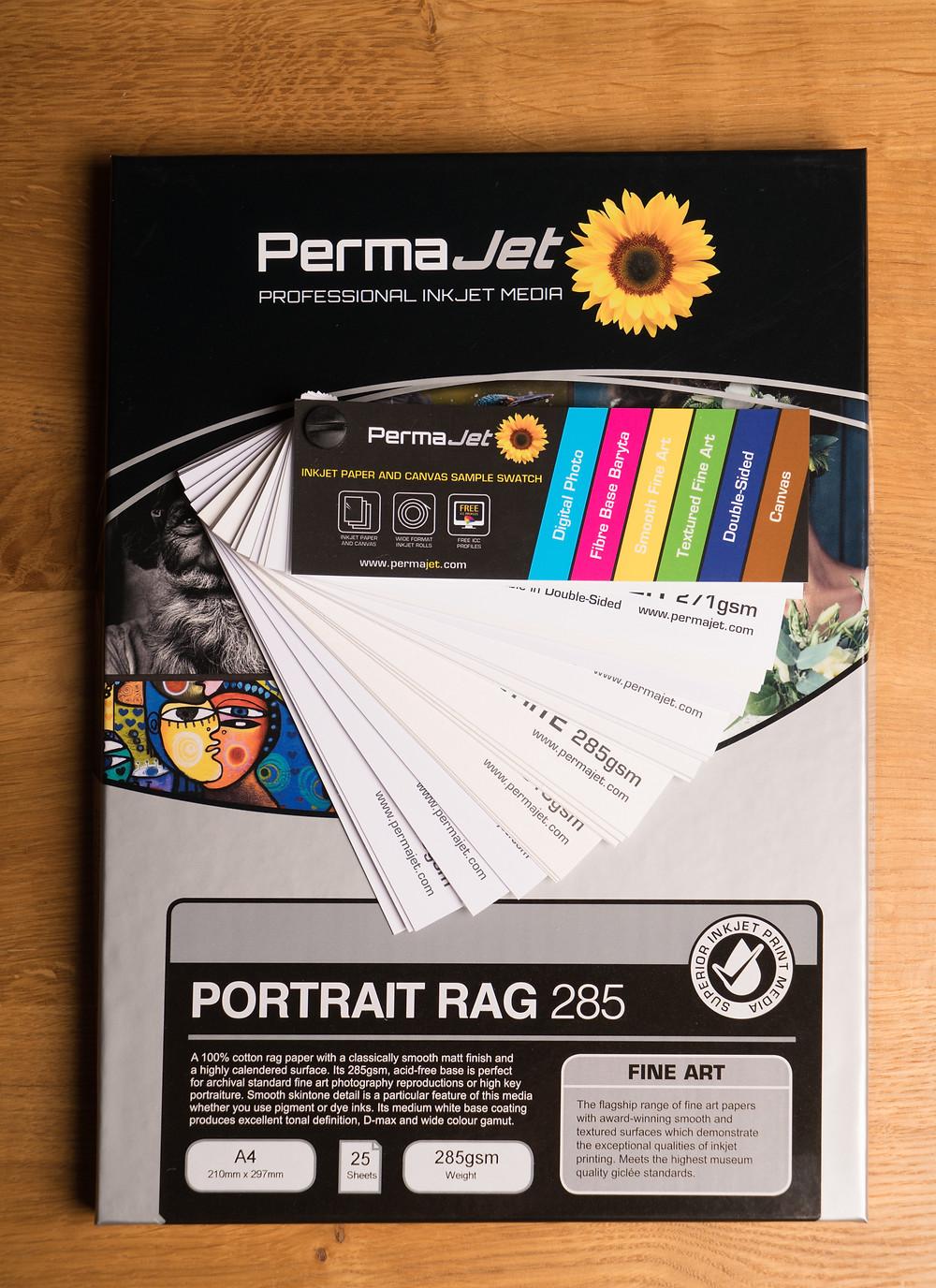 Box of PermaJet Portrait Rag with a swatch