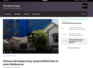 ABC News: Chinese Developers buy up greenfield sites in outer Melbourne