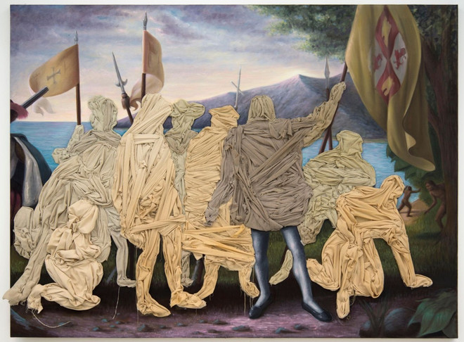 Columbus Day Painting by Titus Kaphar