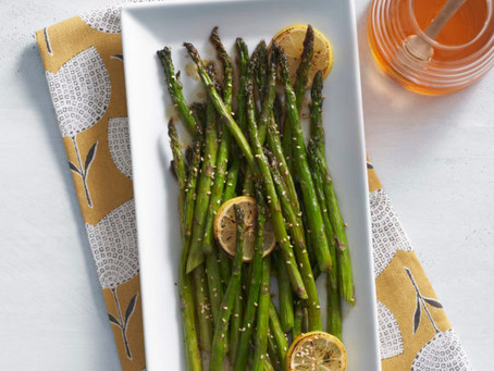 HONEY GRILLED ASPARAGUS WITH LEMONY SOY DRESSING