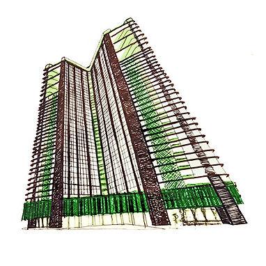 V-Tower facade concept development. Phnom Penh, Cambodia