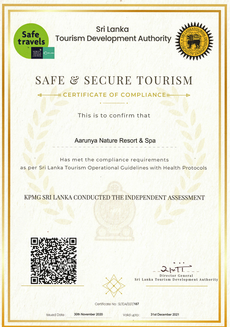 Aarunya has received the Safe & Secure Certification.