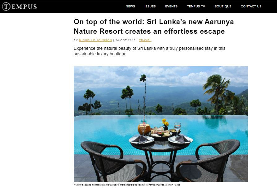 Aarunya Resort online review in Tempus Magazine UK