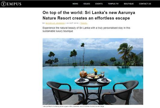 Aarunya Resort online review in Tempus Magazine UK