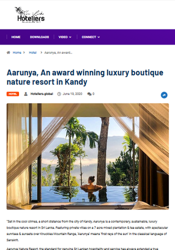 """Aarunya, An award winning luxury boutique nature resort in Kandy"""