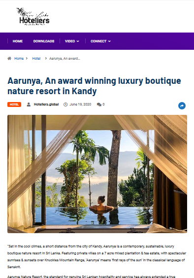 """Aarunya, An award winning luxury boutique nature resort in Kandy"""