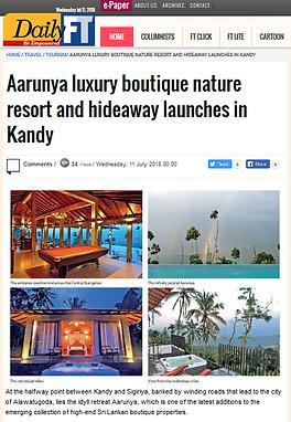Aarunya featured on DailyFT (Daily Financial Times) of Sri Lanka.