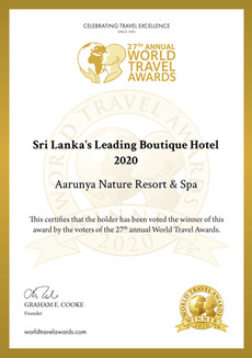 Aarunya has been crowned as Sri Lanka's Leading Boutique Hotel 2020 and Asia's Leading Boutique Hotel in the 2020 World Travel Awards™!