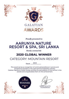 Aarunya Nature Resort & Spa is officially crowned as the Signature Mountain Resort and Regional Winner in Asia by Galatian Signature Hotel Awards. The awards encompass over 38,000 Nominations, 16,830 Hotels, 80 Categories, and 198 Countries.