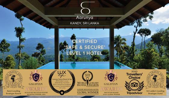 Aarunya is a Certified 'Safe & Secure' Level 1 Hotel & Global Award Winning Hotel Resort.