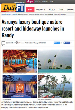 Aarunya Opening Featured on DailyFT (Daily Financial Times) of Sri Lanka.