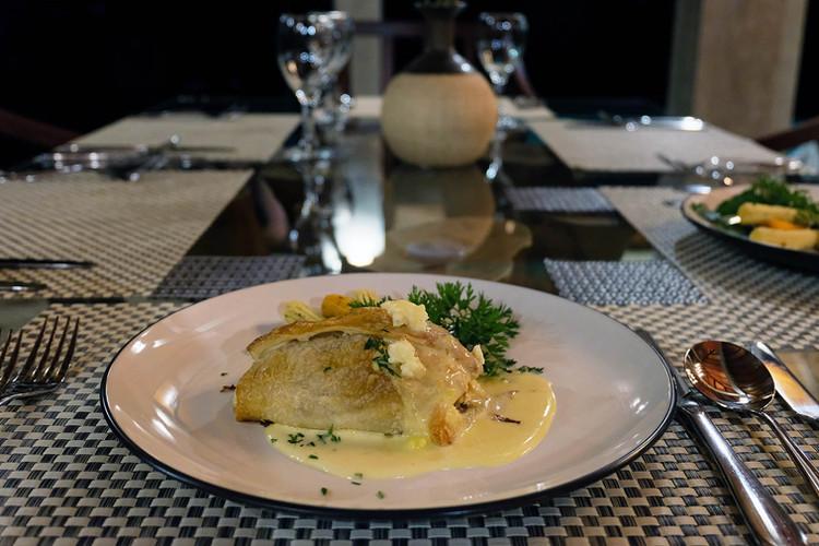 Seafood Wellington with Hollandaise Sauce.