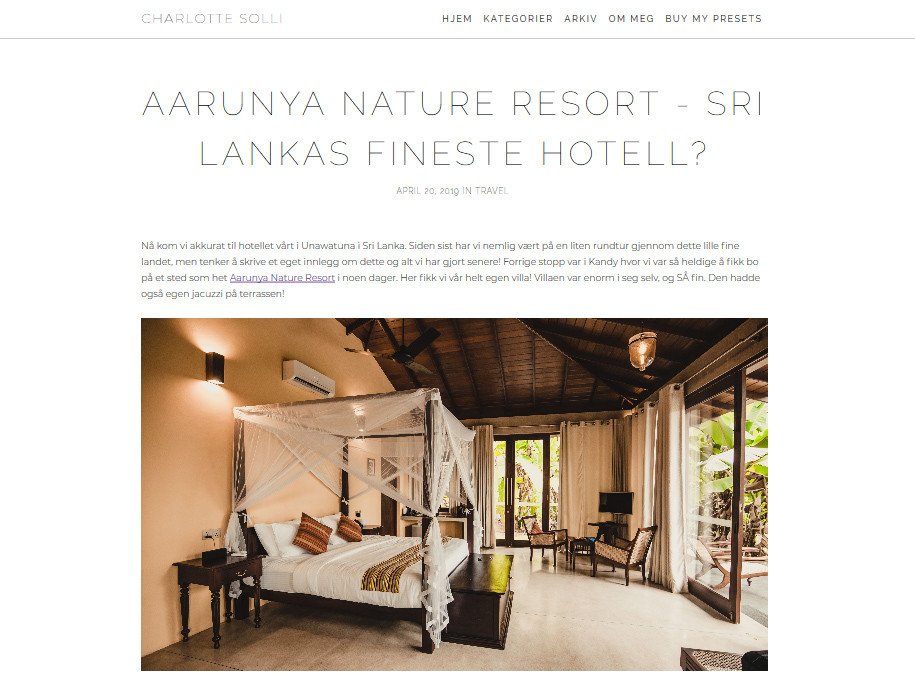 Aarunya Nature Resort - Sri Lanka's Fineste Hotell by Charlotte Solli