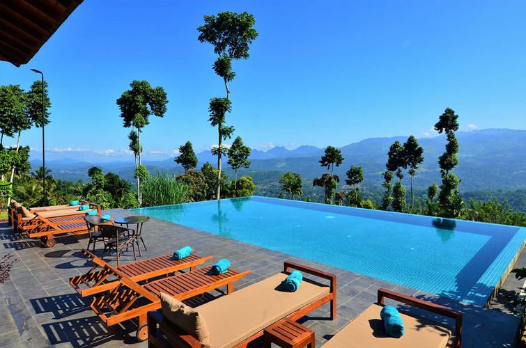 Infinity pool at the premier luxury resort in Kandy Sri Lanka.