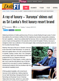 A ray of luxury – 'Aarunya' shines out as Sri Lanka's first luxury resort brand