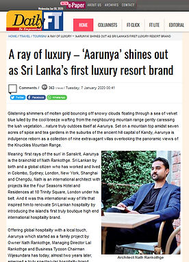 Daily Financial Times of Sri Lanka interview with Nath.