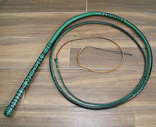 B14 9ft 16 plait Bullwhip in Black and Jade