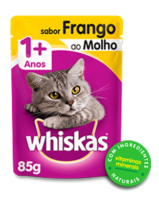 Sachê WHISKAS para Gatos Adulto Sabor Frango ao Molho - 85 G