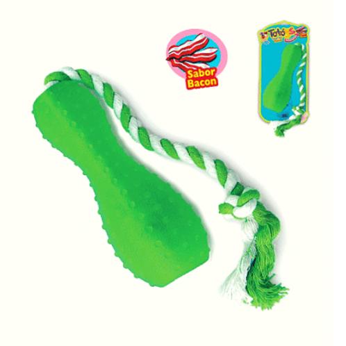 Brinquedo Chalesco Para Cães Boia com Corda Flex Sabor Bacon