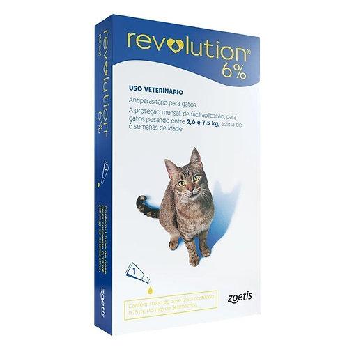 Antipulgas Revolution 6% Gatos de 2,6kg a 7,5kg Zoetis 45mg