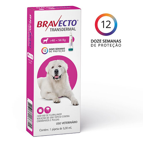 Antipulgas Bravecto Transdermal 1400mg Cães 40 a 56kg