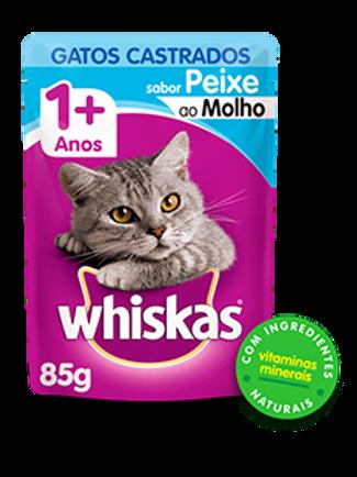Sachê WHISKAS para Gatos Castrados Adulto Sabor Peixe ao Molho - 85 G