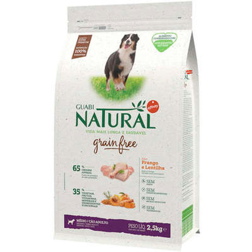 Ração Guabi Natural Grain Free Frango e Lentilha para Cães Adultos Raças Médias