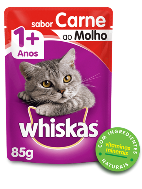Sachê WHISKAS para Gatos Adulto Sabor Carne ao Molho