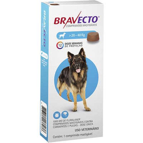 Bravecto 20 a 40kg Antipulgas Oral Cães Comprimido Mastigável 1000mg